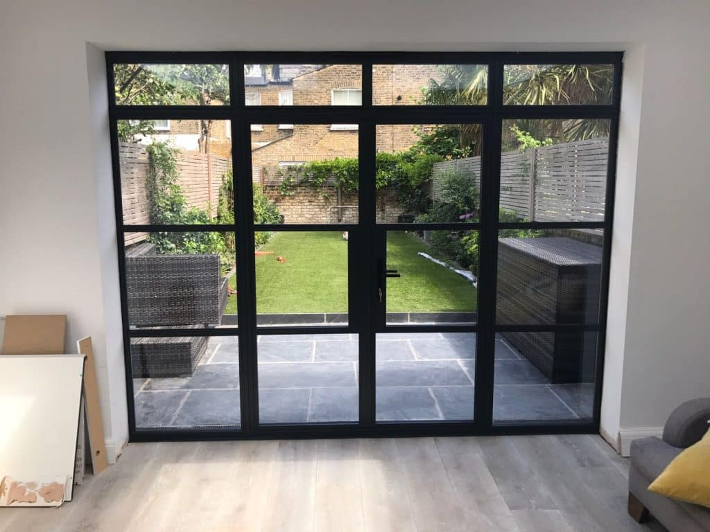 picture of steel-look aluminium doors in new extension