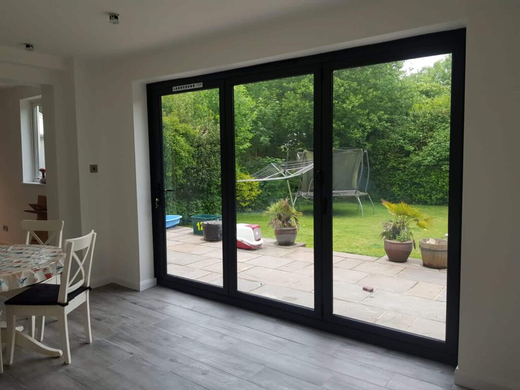 picture of bifolding doors in house extension
