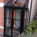 steel look entrance porch