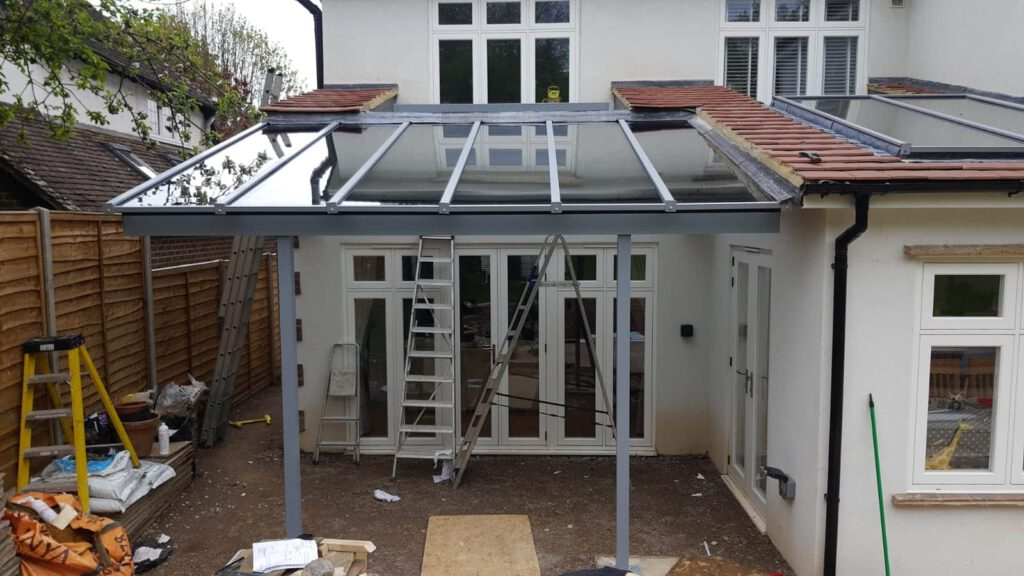 aluminium veranda in a london house