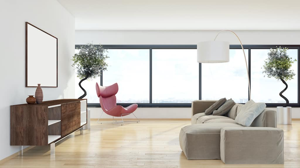 Alitherm aluminium windows in black colour featured in a modern lounge
