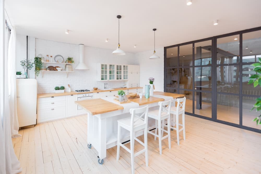 inside kitchen with steel-look sliding doors