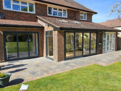 Replacing PVCu windows with aluminium in an extension